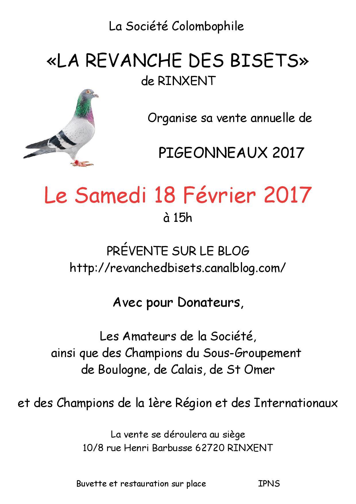 Affiche vente rinxent pigeonneaux 2017